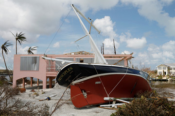A stranded sailboat is seen after Hurricane Dorian hit the Abaco Islands in Treasure Cay