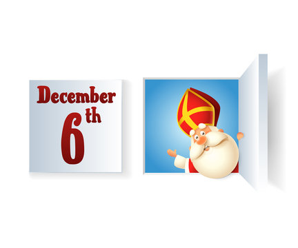 Saint Nicholas day at December on Advent calendar - closed and opened window - vector illustration isolated on transparent background