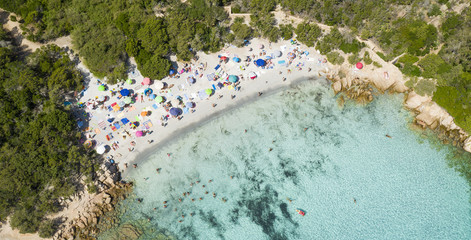 Wall Mural - View from above, stunning aerial view of a beautiful beach full of colored beach umbrellas and people swimming in a turquoise clear water. Capriccioli Beach, Costa Smeralda, Sardinia, Italy.