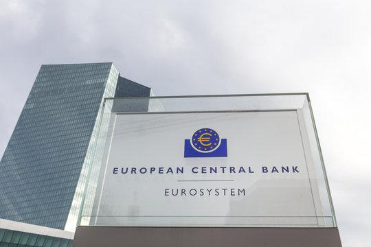 frankfurt, hesse/germany - 11 10 18: european central bank building sign in frankfurt germany
