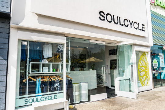 August 28, 2019 Palo Alto / CA / USA - Soulcycle location in Stanford Shopping Center, Silicon Valley; SoulCycle is a New York City-based fitness company that offers indoor cycling workout classes