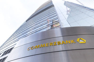 frankfurt, hesse/germany - 11 10 18: commerzbank bank sign on an building in frankfurt germany