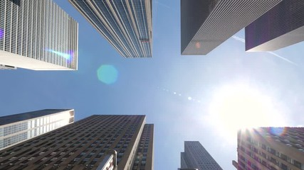 Fototapete - Skyscraper office buildings moving dolly low angle