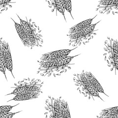 Seamless pattern of hand drawn sketch style cereals isolated on white background. Vector illustration.