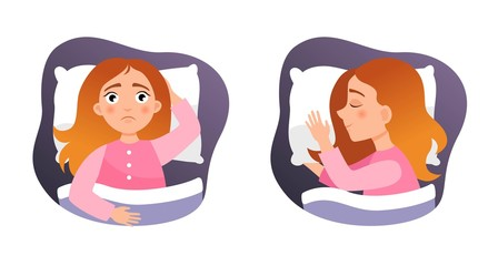 Illustration of a cute girl in the bed. Concept of insomnia and healthy sleep.