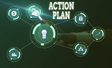 Conceptual hand writing showing Action Plan. Concept meaning detailed plan outlining actions needed to reach goals or vision Woman wear work suit presenting presentation smart device