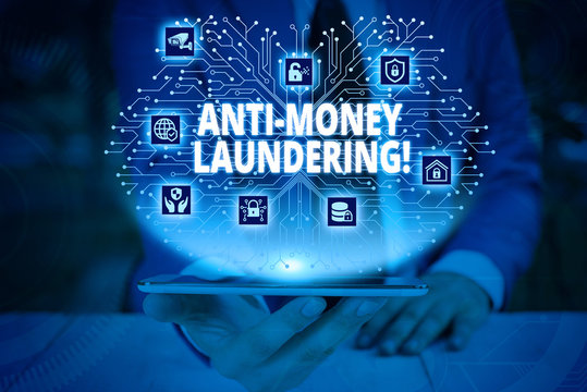 Writing note showing Anti Money Laundering. Business concept for regulations stop generating income through illegal actions Male wear formal work suit presenting presentation smart device