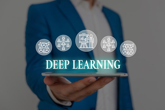 Text sign showing Deep Learning. Business photo showcasing Hierarchical Abstractions Artificial Intelligence Algorithm Male human wear formal work suit presenting presentation using smart device