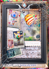 Spoed Fotobehang Imagination Vintage and old fashioned postcard with a steampunk hot air balloon