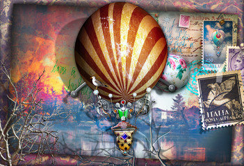 Poster Imagination Old fashioned postcard with montgolfier