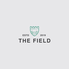 icon logo of agriculture with field and cloud concept