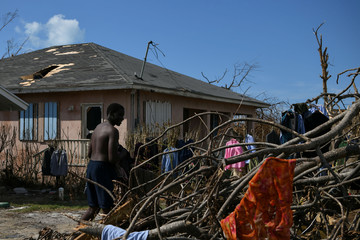 A young man collects clothes left out to dry on tree limbs in the wake of Hurricane Dorian in Marsh Harbour