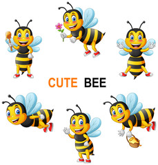 Cartoon cute bee set. vector illustration