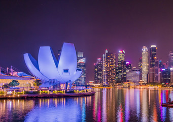 Singapore city skyline,City scape Building in Singapore., Singapore city skyline at Marina bay cityscape by night