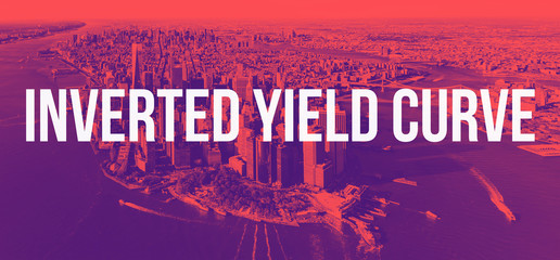 Inverted Yield Curve theme with aerial view of New York City with duotone gradient background