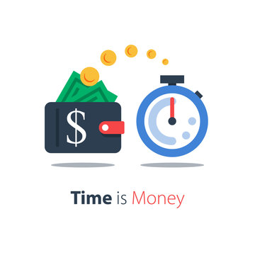 Cash back, wallet with dollar sign and stopwatch, easy loan, instant payment, fast money transfer, financial services, vector flat illustration