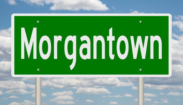 Rendering of a green highway sign for Morgantown West Virginia