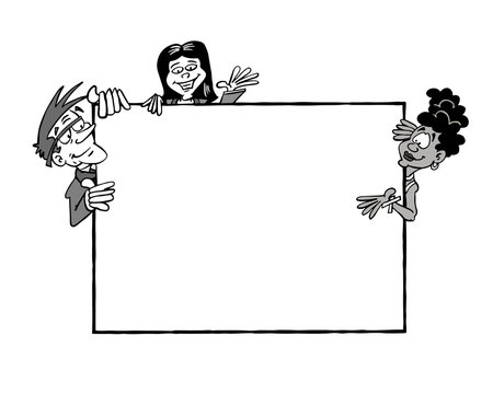 Three characters holding an empty billboard - multicultural black and white