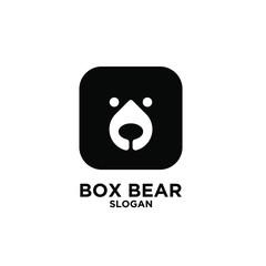 Cute black bear head logo icon designs vector illustration