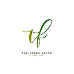 T F TF Initial letter handwriting and  signature logo concept design.