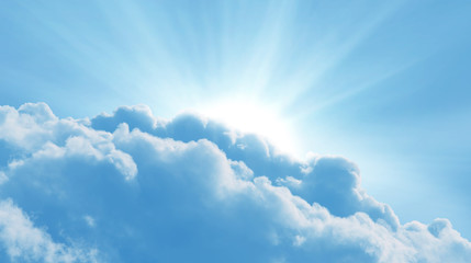 Wall Mural - Blue sky with sun and beautiful clouds.Concept religion background