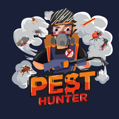 Pest hunter logo design.  Pest Control Service Technicians- vector illustration