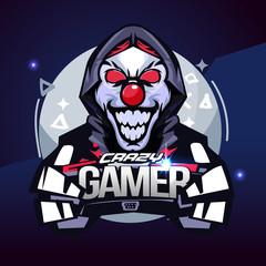Crazy gamer. joker gamer concept. e-sport logo - vector illustration