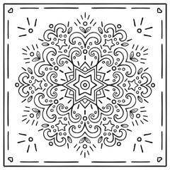 Cute Hand Drawn Christmas Mandala Coloring Card.