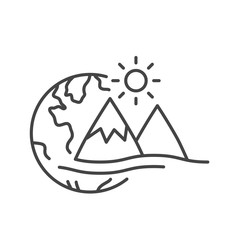 World icon with mountain and sunrise isolated. Modern outline in trendy style on white background