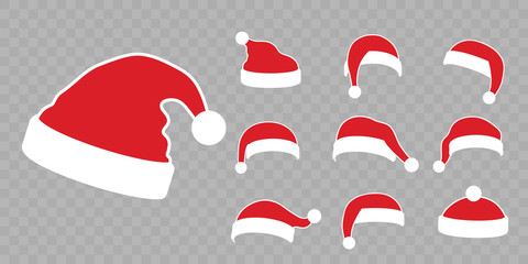 Santa Claus hat flat set. Realistic Santa Claus hat isolated transparent background. Red cap silhouette. Merry Christmas clothes cute cartoon design. New year decoration costume. Vector illustration