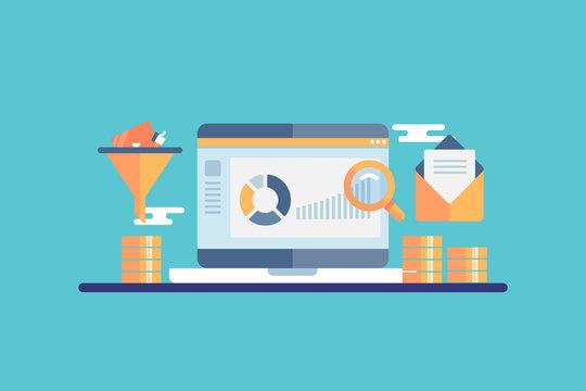 Conversion funnel optimization, ecommerce marketing,  customer data anakytic concept. Flat design vector banner.