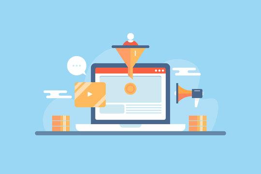 Conversion rate optimization, convert lead to customer, digital marketing funnel, cro concept, flat design vector banner template.