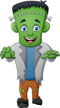 Halloween frankenstein cartoon. vector illustration