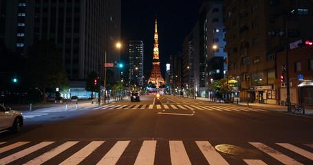 Fotomurales - Tokyo city street at night
