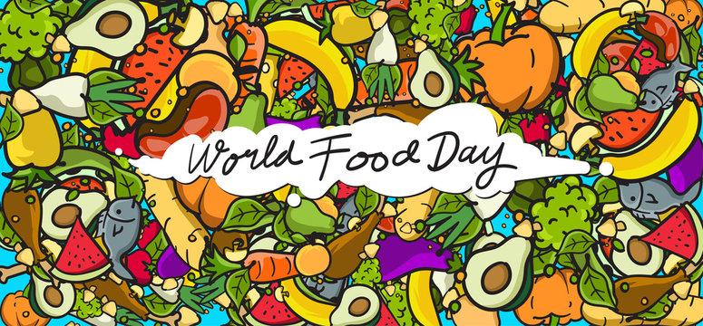 World Food Day Banner Vector Illustration Various Food, Fruits, and Vegetables. Vector Colourful  Doodle Food Illustration for Website, Landing Page, Banner, Poster, Print, Story.