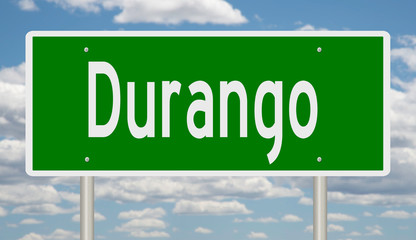 Rendering of a green highway sign for Durango Colorado