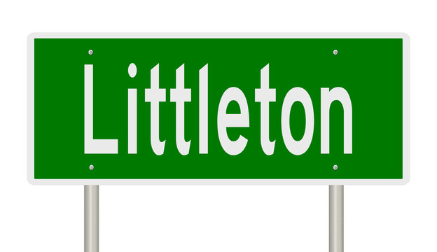 Rendering of a green highway sign for Littleton Colorado