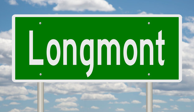 Rendering of a green highway sign for Longmont Colorado