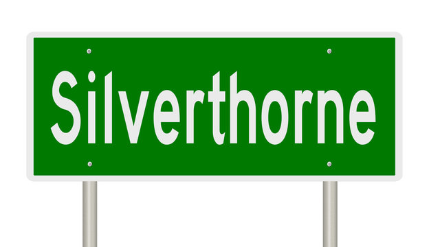Rendering of a green highway sign for Silverthorne Colorado