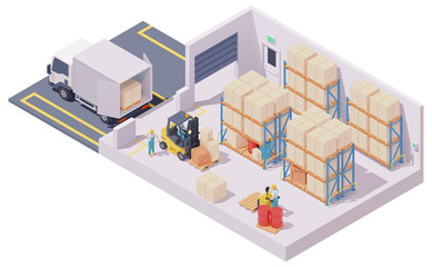 Vector isometric warehouse interior