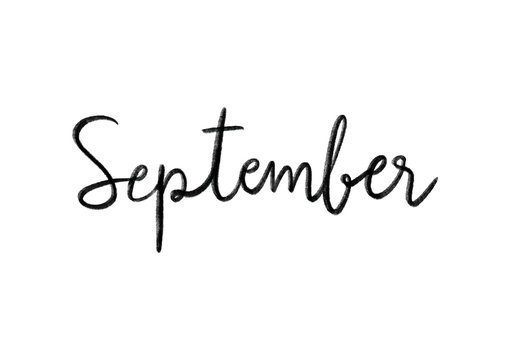 September hand lettering on white background