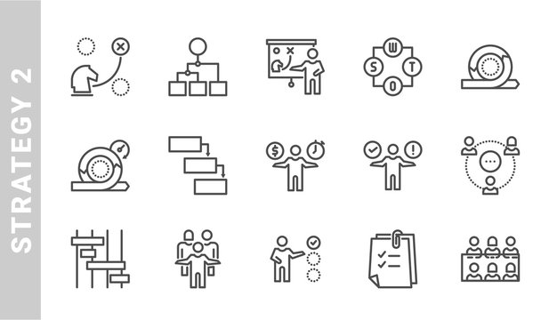 strategy 2 icon set. Outline Style. each made in 64x64 pixel