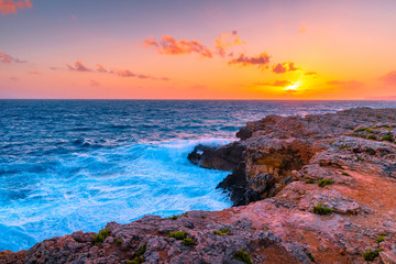 Fototapete - Seascape. Beautiful sunset over sea in summer.