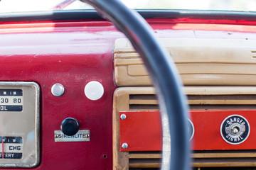 antique fire truck interior dashboard