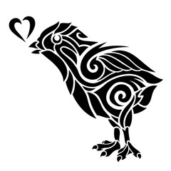 Tribal tattoo art with stylized chicken silhouette
