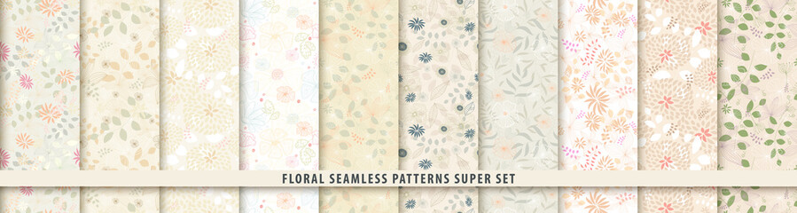 Floral seamless pattern set. Flowers and leaves.. Color vector background. Summer and spring print