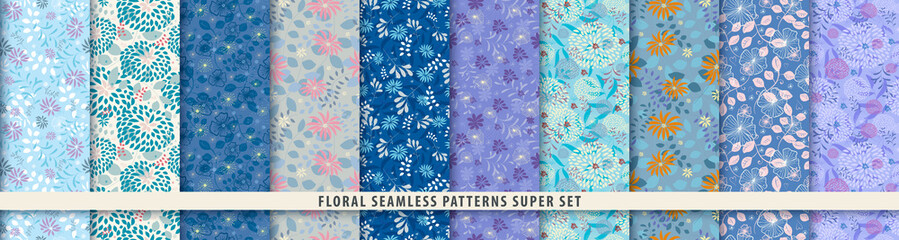 Floral seamless pattern set. Flowers and leaves.. Blue vector background. Summer and spring print