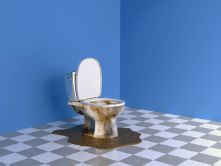 clogged toilet in a blue room