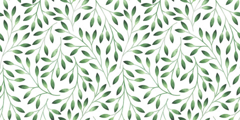 Seamless pattern with stylized leaves. Watercolor hand drawn illustration. Fototapete