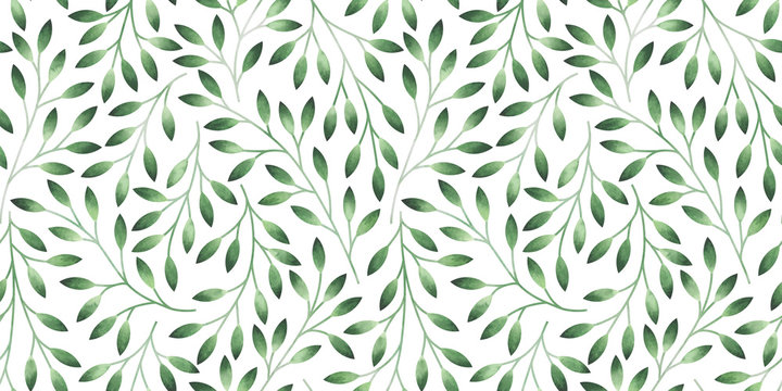 Seamless pattern with stylized leaves. Watercolor hand drawn illustration.